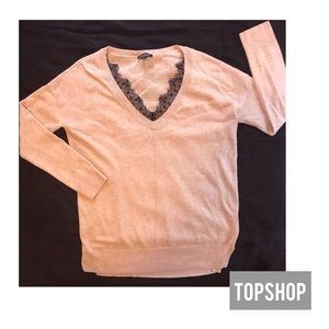 Topshop Pink Sweater with Black Lace Neckline